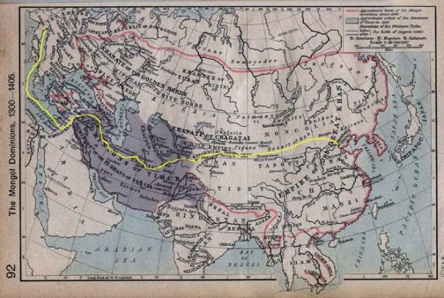 En jaune le voyage aller de Marco Polo
